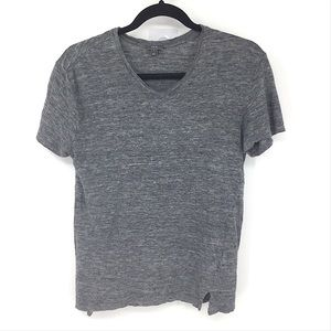 Vince Linen Grey Short Sleeve Tee Shirt Top Small